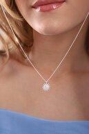 Takı Tak Silver Kadın 14k Gümüş kaplama Zirkon Taşlı Güneş Model Kolye