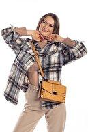 Madamra Sarı Kroko Kadın Kapaklı Metal Aksesuarlı Omuz Çantası