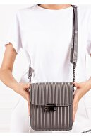 Gez çanta Kadın Gri Çizgi Desenli Pu Deri Üç Bölmeli Crossbody Çanta
