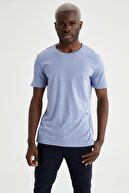 Defacto Bisiklet Yaka Slim Fit Premium Kalite Basic Mavi Tişört