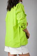 ABBRA Kadın Çift Cepli Oversize Keten Gömlek