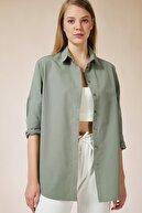 Happiness İst. Kadın Haki Oversize Uzun Basic Gömlek DD00842