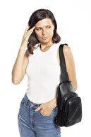 Madamra Siyah Kadın Üç Bölmeli Çanta