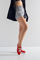 GRADA Hakiki Deri Kırmızı Nubuk Hasır Baskı  Sneaker Ayakkabı