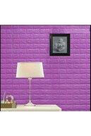 Renkli Duvarlar Kendinden Yapışkanlı Açık Mor Tuğla Duvar Paneli 3d Duvar Kağıdı