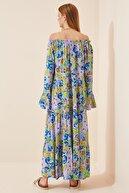 Happiness İst. Kadın Koyu Lila İspanyol Kol Oversize Yazlık Viskon Elbise  FN02801