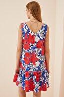 Happiness İst. Kadın Mavi Çiçekli Ön Arka V Yaka Yazlık Poplin Elbise DD00969