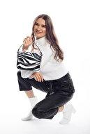 Madamra Zebra Desenli Kadın Kapaklı Zincirli Çapraz Çanta