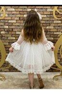 Pumpido Dantelli Kız Çocuk Elbisesi Beyaz