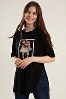 Pattaya Kadın Baskılı Yırtmaçlı Örme Tişört Y20s110-0363