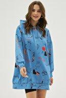 Pattaya Kadın Mavi Baskılı Oversize Sweatshirt Elbise P20w-4127