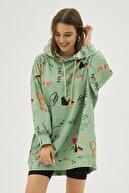 Pattaya Kadın Yeşil Baskılı Oversize Sweatshirt Elbise P20w-4127