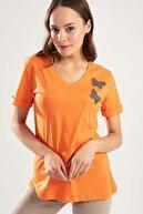 Pattaya Kadın Kelebek Taşlı Kısa Kollu Tişört Y20s134-1138
