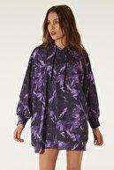 Pattaya Kadın Baskılı Kapşonlu Sweatshirt Elbise P20w-4125-2