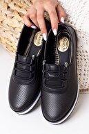 Lal Shoes & Bags Kadın Ortopedik Rahat Babet Spor Ayakkabı-siyah