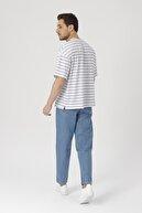 Gambocci Erkek Mavi Boyfriend Düğmeli Kot Pantolon