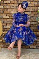 Riccotarz Kız Çocuk Çiçekli Prenses Mavi Elbise