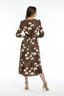 Pitti Kadın Kahverengi Çiçekli Leopar Elbise