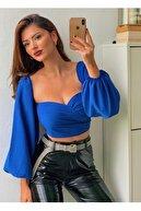 lovebox Sırtı Gipe Lastik Detaylı Multi Şifon Mavi Bluz Corp Top