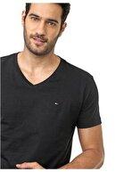 Tommy Hilfiger Erkek Siyah V - Neck Men T-shirt