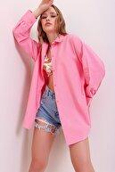 Trend Alaçatı Stili Kadın Pudra Patı Gizli Oversize Dokuma Gömlek ALC-X6828