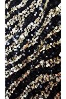 Mango Siyah Zebra Desenli Payetli Elbise
