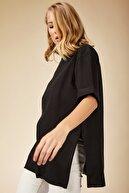 Happiness İst. Kadın Siyah Yandan Yırtmaçlı Pamuklu Penye T-shirt DD00863