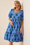 Happiness İst. Kadın Mavi Çiçekli Kare Yaka Yazlık Poplin Elbise DD00966
