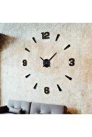 GİZEM SHOP Büyük Boy 3d Latin Rakamlı Duvar Saati Siyah