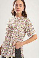 Pattaya Kadın Beyaz Duble Kol Yanı Yırtmaçlı Çiçekli Tişört PTTY20S-4238
