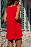 EYO V Yaka Kalın Askılı Sıfır Kol A Kesim Basic Uzun Atlet Tshirt