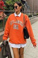 MODAGEN Kadın Turuncu Atlanta Baskılı Oversize Sweatshirt