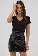 Pattaya Kadın Siyah V Yaka Basic Örme Kısa Kollu Tişört P21s201-2200
