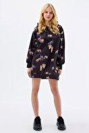 Pattaya Kadın Baskılı Oversize Sweatshirt Elbise P20w-4127