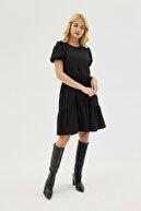 Pattaya Kadın Siyah Dokulu Balon Kollu Volanlı Elbise P21s201-2172