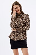 Pattaya Kadın Leopar Desenli Uzun Kollu Gömlek P21s110-8183