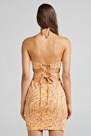 Bershka Jakarlı Halter Yaka Mini Elbise