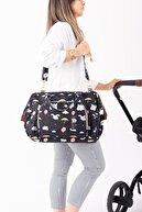Baby Balloon Bag Omuz Askılı Anne Bebek Bakım Kol Çantası Siyah Filli