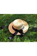 laviyonsa Bağlamalı Siyah Kurdale Hasır Şapka