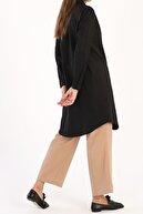 ALLDAY Kadın Siyah Gizli Patlı Pamuklu Gömlek Tunik