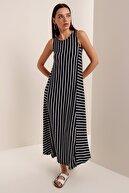 HAKKE Kadın Lacivert Çizgili Sıfır Kol Elbise