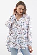 Pattaya Kadın Mavi Beyaz Yarasa Kollu Oversize Gömlek P21s201-2055