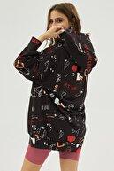 Pattaya Kadın Siyah Baskılı Oversize Sweatshirt Elbise P20w-4127