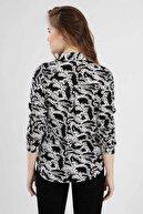 Pattaya Kadın Baskılı Uzun Kollu Gömlek Ptty20s-101