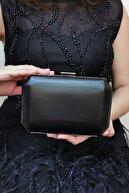 NAZART Kadın Siyah Kumaş Abiye Clutch Çantası
