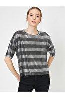 Koton Kadın Siyah Çizgili T-Shirt