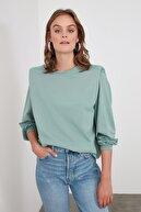 TRENDYOLMİLLA Mint Omuz Detaylı Basic Örme Sweatshirt TWOAW21SW1139