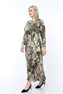 ŞENZADE Kadın Yeşil Viskon Kumaş Baskı Desen Büyük Beden Elbise