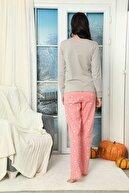 Siyah İnci Nakışlı Düğmeli Interlok Pijama Takımı