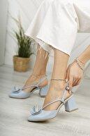 Moda Değirmeni Kadın Bebe Mavi Cilt Kadın Gül Fiyonklu Topuklu Ayakkabı